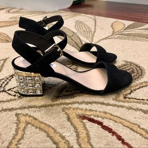 Black Sandals with Jewel-Encrusted Block Heel